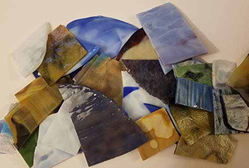 10 LBS of Beautiful Large Piece Mosaic Tile Opalescent Stained Glass Mosaic Scrap Value Pack. Glass Mosaic Tiles for Crafts, Picture Frames, Mirrors, Ceramics, Stained Glass and Jewelry