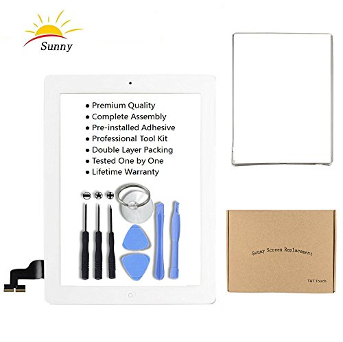 Replacement Screen Camera Lcd (iPad 2 A1395 A1396 A1397 Screen Replacement Digitizer Glass Assembly(White) - Includes Home Button Camera Holder Pre Installed Adhesive Stickers Bezel Frame and Professional Tool Kit)