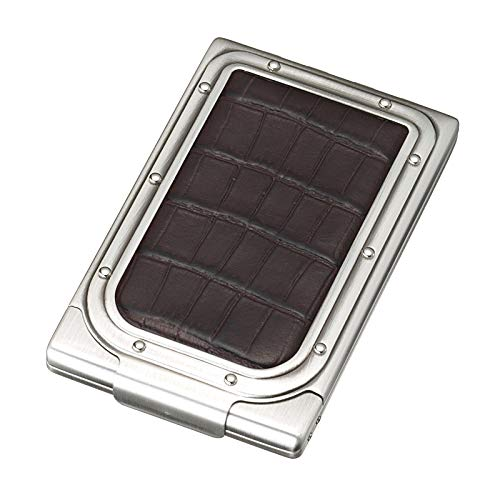 Sarome genuine leather cigarette case EXCC1-04 SKS10 / Antique silver/dark brown leather crocodile embossing