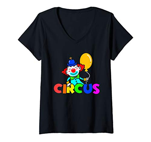 Womens Circus Clown Costume Carnival V-Neck T-Shirt -