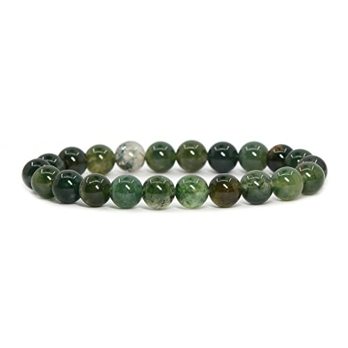 Mens Agate (Natural Moss Agate Gemstone 8mm Ball Beads Stretch Bracelet 7