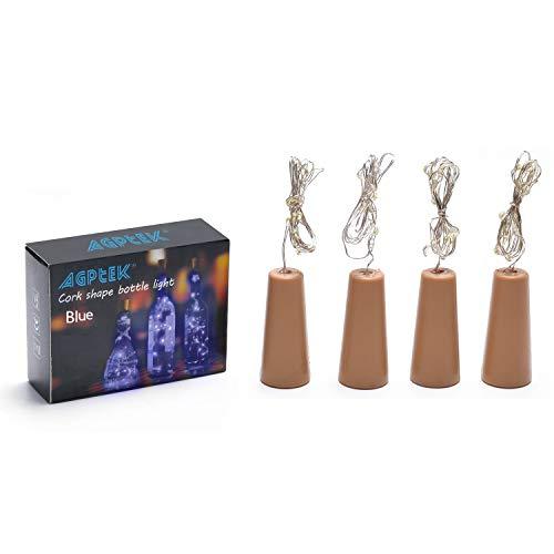 Bottle Lights, 4PCS/SET Cork Shape Lights 75cm/30inch Copper Wire Light Starry Light For Christmas Wedding and Party Halloween Decoration - Blue ()