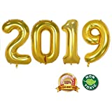 2019 Happy New Year Balloons | 40-inch Gold 2019 Number Foil Large Balloons | Perfect for New Year's Party/Events as Balloon Decorations