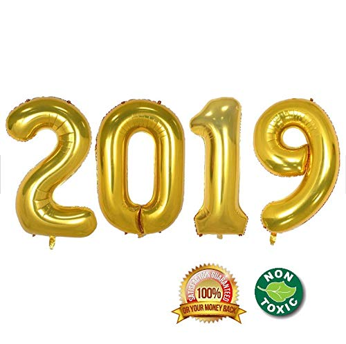 2019 Happy New Year Balloons | 40-inch Gold 2019 Number Foil Large Balloons | Perfect for New Years Party/Events as Balloon Decorations