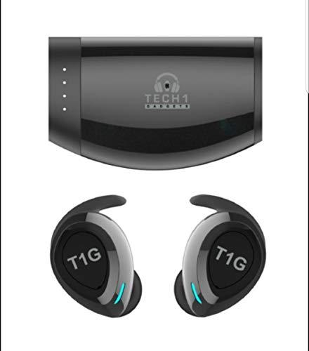 Tech 1 Gadgets TWS True Wireless 5.0 Bluetooth IPX7 Waterproof HD Sound Earbuds. (Black)