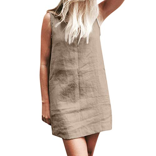- QIQIU Women's Sleeveless Swing Solid Loose Fit with Pockets Casual Party Summer Mini Dresses Khaki