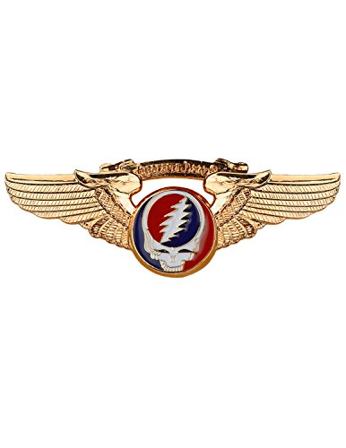 (Grateful Dead Gold Plated Steal Your Face Small Pilot Wing Pin)