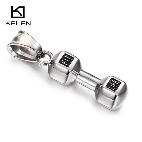 Metal Color: Silver with Chain Davitu Weightlifting Dumbbells Shaped Necklace for Men Stainless Steel Gold Color Dumbells Sporty Pendant Necklace Male Jewelry