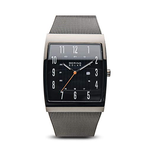 BERING Time 16433-377 Solar Collection Slim Watch with Mesh Strap and Scratch Resistant Sapphire Crystal. Designed in Denmark.