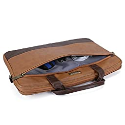 15.6 inch Laptop Shoulder Bag, Evecase Leather Modern Business Tote Briefcase Laptop Messenger Bag with Accessory Pockets ( Fits Up to 15.6-inch Macbook, Laptops, Ultrabooks) - Brown