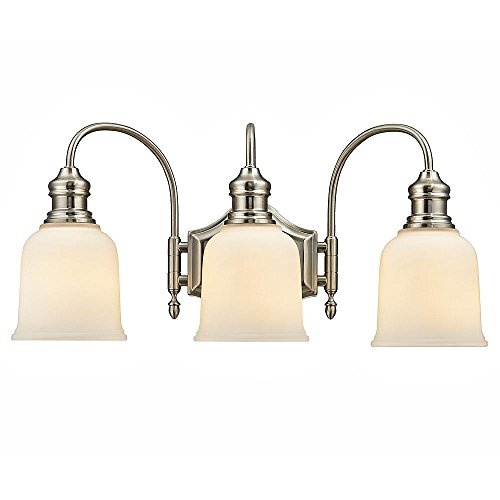 Home Decorators Collection 3-Light Satin Nickel Vanity Light with Frosted White Glass - Diana 3 Light