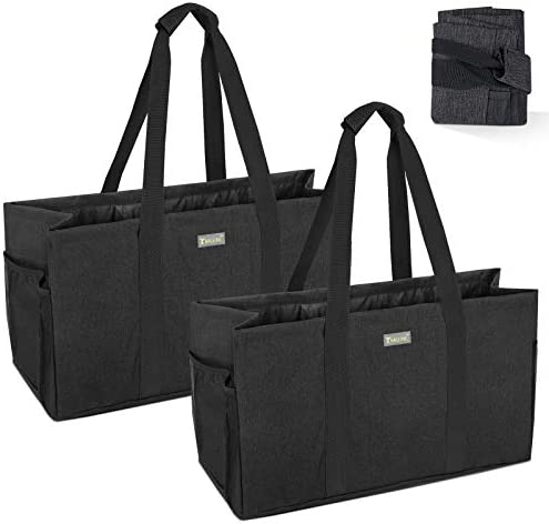 BALEINE 2 Pack Reusable Soft Utility Tote with Reinforced Handles, Eco Friendly Collapsible Foldable & Washable Grocery Storage Bag, Extra Storage For Phone & Keys with Inner & Side Pockets(Black)