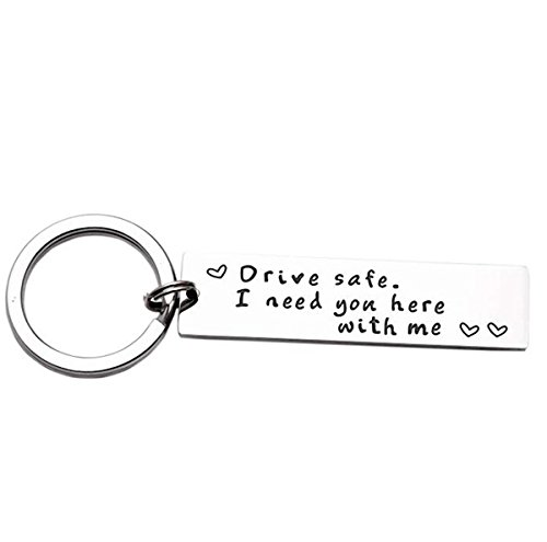 iWenSheng Drive Safe Handsome I Love You Keychain Gifts for Boyfriend Husband Dad Valentines Day Gift Christmas Gift Stocking Stuffer, Staidness Steel (#2NeedYou)
