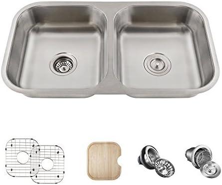 ADA3218A 18-Gauge Double Bowl Kitchen Ensemble Bundle – 6 Items Sink, Basket Strainer, Standard Strainer, 2 Sink Grids, and Cutting Board