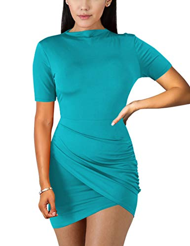 BORIFLORS Women's Sexy Wrap Front Long Sleeve Ruched Bodycon Mini Club Dress,Small,Lake Blue