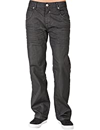 Men's Relaxed Bootcut Premium Coating Whisker Black Denim Jeans Zipper Trim Pocket