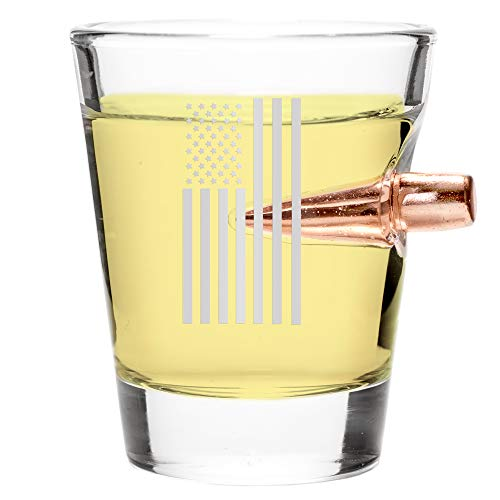 .308 Real Bullet Handmade Shot Glass - Draped Flag