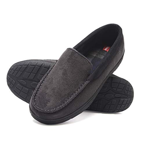 Hanes Men's Moccasin Slipper House Shoe with Indoor Outdoor Memory Foam Sole Fresh IQ Odor Protection (Size Large, Grey)