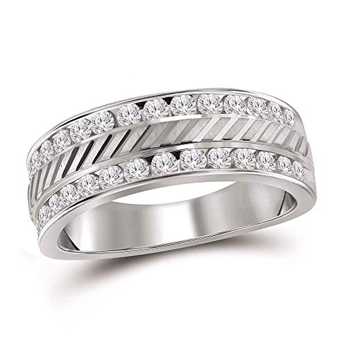 - Dazzlingrock Collection 14kt White Gold Mens Round Channel-set Diamond Double Row Grecco Wedding Band Ring 1.00 Cttw
