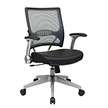 SPACE Seating Air Grid Light Back and Padded Black Eco Leather Seat, 2-to-1 Synchro Tilt Control Chair
