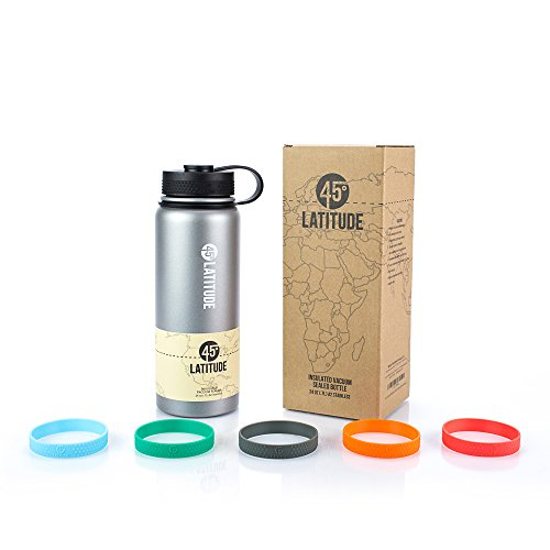 45 Degree Latitude Stainless Steel Insulated Vacuum Sealed Water Bottle, 24-Ounce, Stone Gray