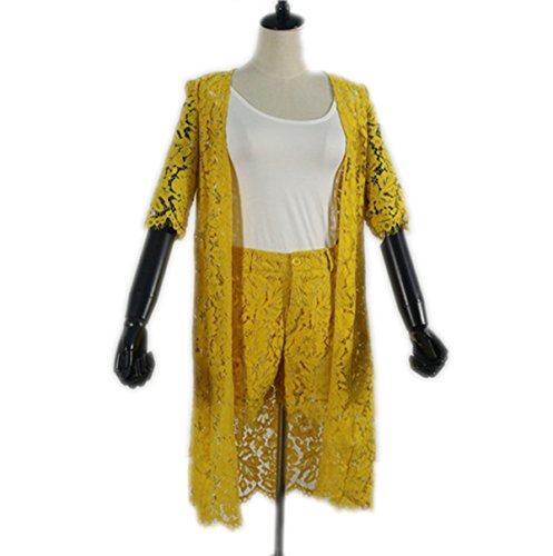 Weing Lace Suit Women Short Sets 3 Piece Set Women Cardigan+Camisoles+Shorts Suits Yellow L by Weing