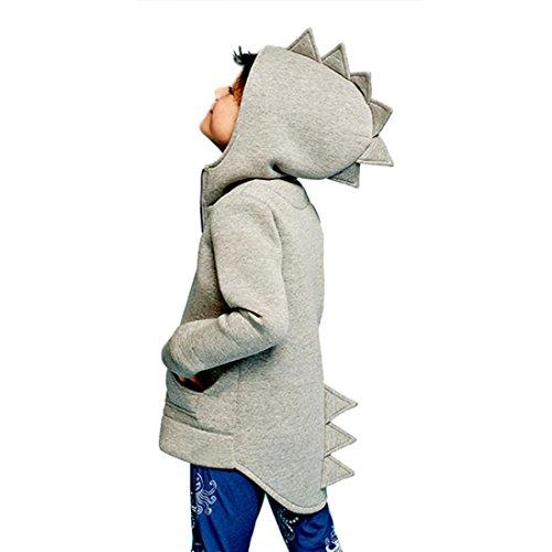 MOONHOUSE Children Spring Dinosaur Style Hooded Coat Jacket (3T, Gray)