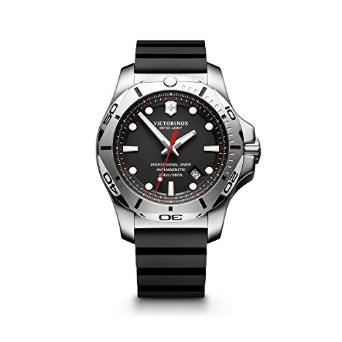 Professional 200 Meters - Victorinox Swiss Army Men's 'I.N.O.X.' Swiss Quartz Stainless Steel and Rubber Diving Watch, Color:Black (Model: 241733.1)