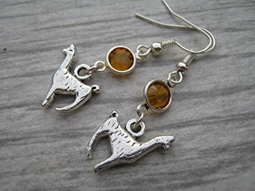 Llama Birthstone Earrings, Personalized Alpaca Earrings, Animal Earrings, Farm Country Earrings]()