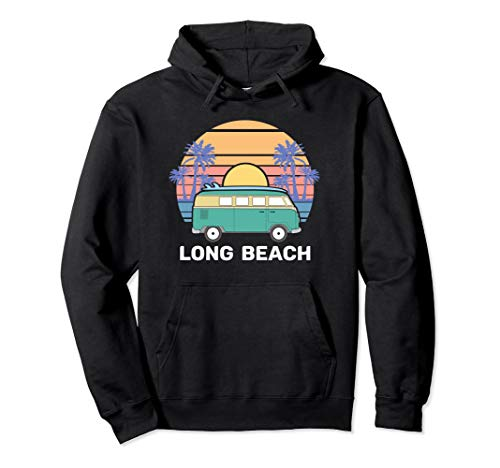 Washington Long Beach Surfer Hoodie, Retro Van Surfing Gift