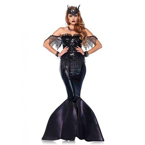 [Women's Mermaid Dark Siren Dress Outfit Adult Halloween Costume Large] (Siren Costume Halloween)