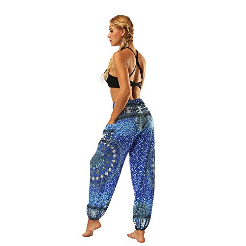 Harem Unica Pavone Funky Coulisse Pants Blu Donna Oyabeautye Pantaloni Taglia Da Floral Hxv6q0B