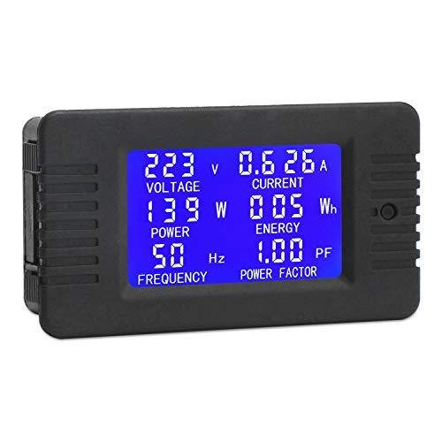 AC Digital Multimeter, DROK Current Voltage Amperage Power Energy Frequency Factor Meter AC 80~260V 10A LCD Digital Display Voltmeter Ammeter Multimeter 110V 220V Volt Amp Tester Monitor Detector