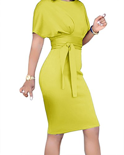 Bodycon Belt Womens Pencil Cocktail Church Waist Yellow Summer Empire Midi with Dress Dresses YwxrgPqY