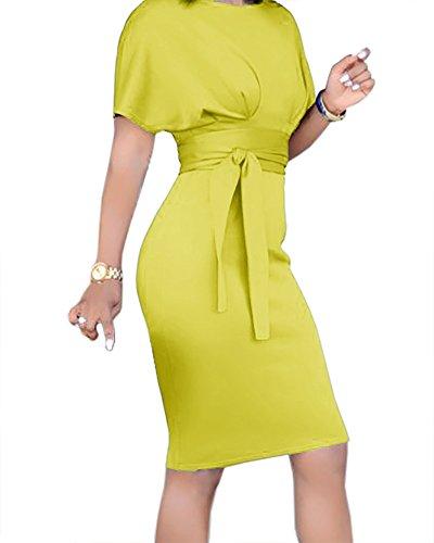 with Length Vintage Business Knee Work Bodycon Dresses Sleeve CNJFJ Dress Cocktail Midi Pencil Yellow Belt Short Womens znFxwRXqA6
