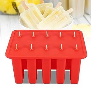 Stampo per ghiaccioli per gelato a 10 celle, gel di silice Congelato per gelato Stampo per ghiaccioli con 50 bastoncini… 6 spesavip