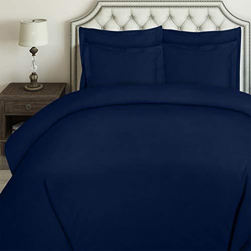 Utopia Bedding 3pc Duvet Cover Set with 2 Pillow Shams, (Queen Navy) (Navy Duvet Cover)