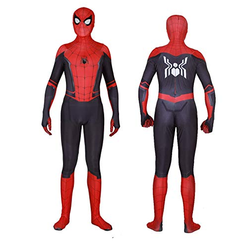 Silica Gel Spider Logo Unisex Lycra Spandex Zentai Halloween 2019 New far from Home New Spiderman Cosplay Costumes Adult/Kids 3D Style (Adults-XXL, Detachable mask)