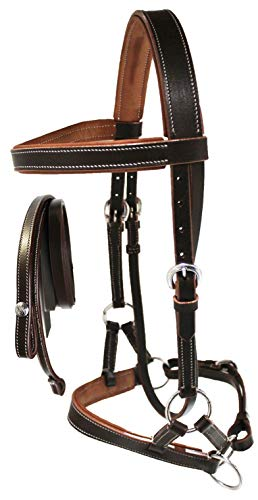 CHALLENGER Western Horse Leather BITLESS SIDEPULL Bridle REINS COB Brown TAN 7710TN-C ()