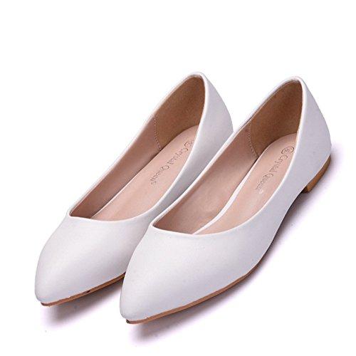 Damen Brautschuhe /Weiße Hochzeitsschuhe/Bequeme Strass High Heels/Pearl Silk Lace /Kristall Hochzeit Schuhe BrautTipp flache Schuhe mit großen Zahl, weiß 38