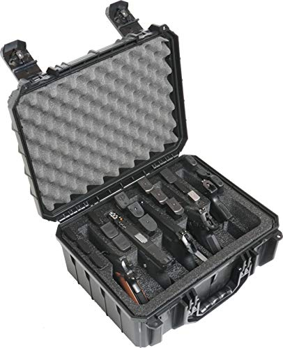Case Club Waterproof 5 Pistol and 18 Magazine Case with Silica Gel to Help Prevent Gun Rust