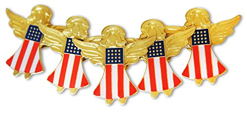 Flag Pin Angel - Patriotic American Flag Angels 5-Piece Lapel or Hat Pin &Tie Tack Set with Clutch Back by Novel Merk