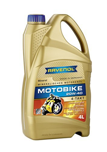 RAVENOL J1V1005-004 SAE 20W-40 4-Stroke Motorcycle Oil - 4-T Mineral JASO MA2 Approved (4 Liter) (Motorcycle Wet Clutch)