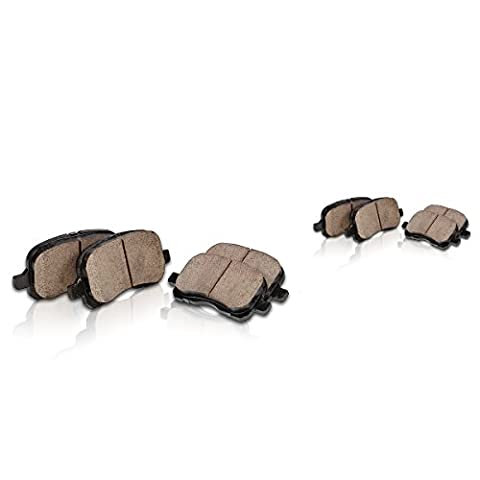 FRONT + REAR Performance Grade Quiet Low Dust [8] Ceramic Brake Pads + Dual Layer Rubber Shims