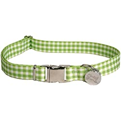 "Southern Dawg Gingham Green Dog Collar with Tag-A-Long ID Tag System-Large-1"" Neck 18 to 28"" Made in the USA by Yellow Dog Design"