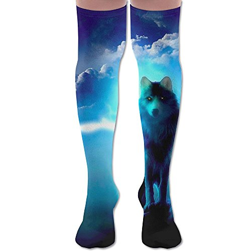Unisex Over Knee-high Socks Above Knee Stockings Football Socks Blue Lighting Wolf Athletic Tube Socks Thigh Socks -