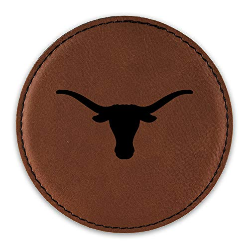 (Texas Longhorn Drink Coaster Leatherette Round Coasters cattle cow - Rawhide - Set of Six Round Coasters)