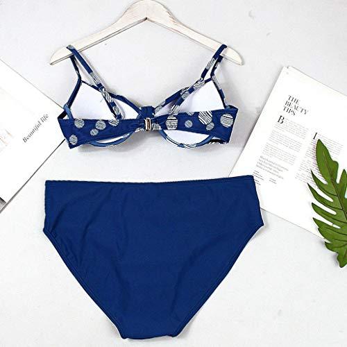 Mymyguoe Mujeres Bikini Correa de Lunares Vintage Conjunto de Bikini Traje de baño Playa Bañador Ropa de baño Tanga Sujetador Bragas Bikini Push Up: ...