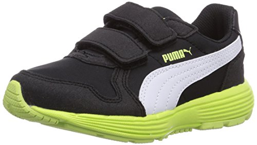 Puma Future ST Runner V Unisex-Kinder Sneakers Schwarz (black-white-sharp green 04)
