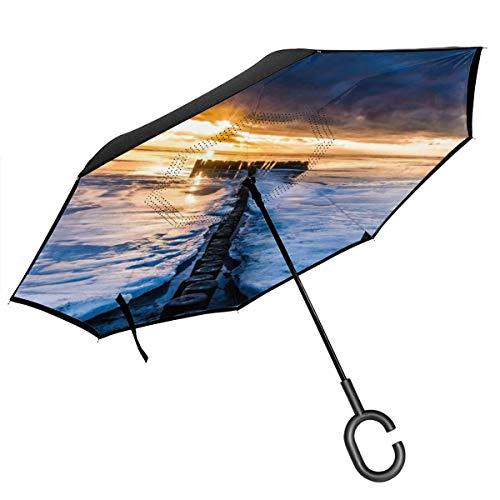 CicScottely Ocean #12 Inverted Umbrella, Large Double Layer Outdoor Rain Sun Car Reversible Umbrella
